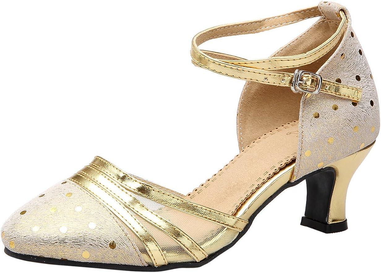 Honeystore Women's Ankle Strap Buckle Modern Dance Shoes