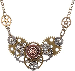 "Best Wing Jewelry Antique-Bronze-Tone Steampunk""Gear"" Pendant Statement Necklace"