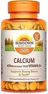 Calcium & Vitamin D by Sundown, Immune Support & Bone Health, 600 mg Calcium & 250IU Vitamin D3, Gluten Free, Dairy Free, ...