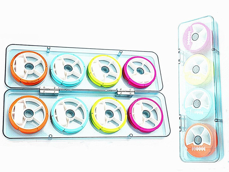 Toasis釣りスネルリグホルダーシリコンゴム製引出線ラインスプールパックof 8pcs withタックルボックス