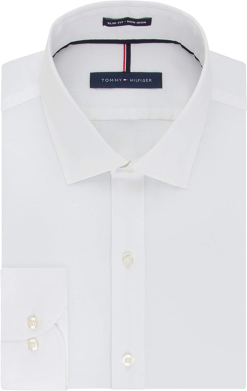 Tommy Hilfiger Men's Dress Shirt Slim Fit Non Iron Solid