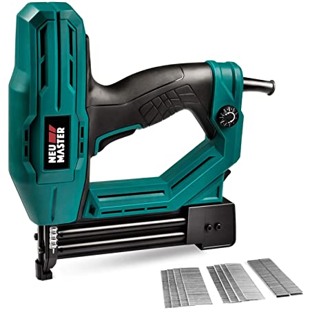 Electric Brad Nailer, NEU MASTER NTC0040 Electric Nail Gun/Staple Gun for Upholstery, Carpentry and Woodworking Projects, 1/4'' Narrow Crown Staples 200pcs and Nails 800pcs Included