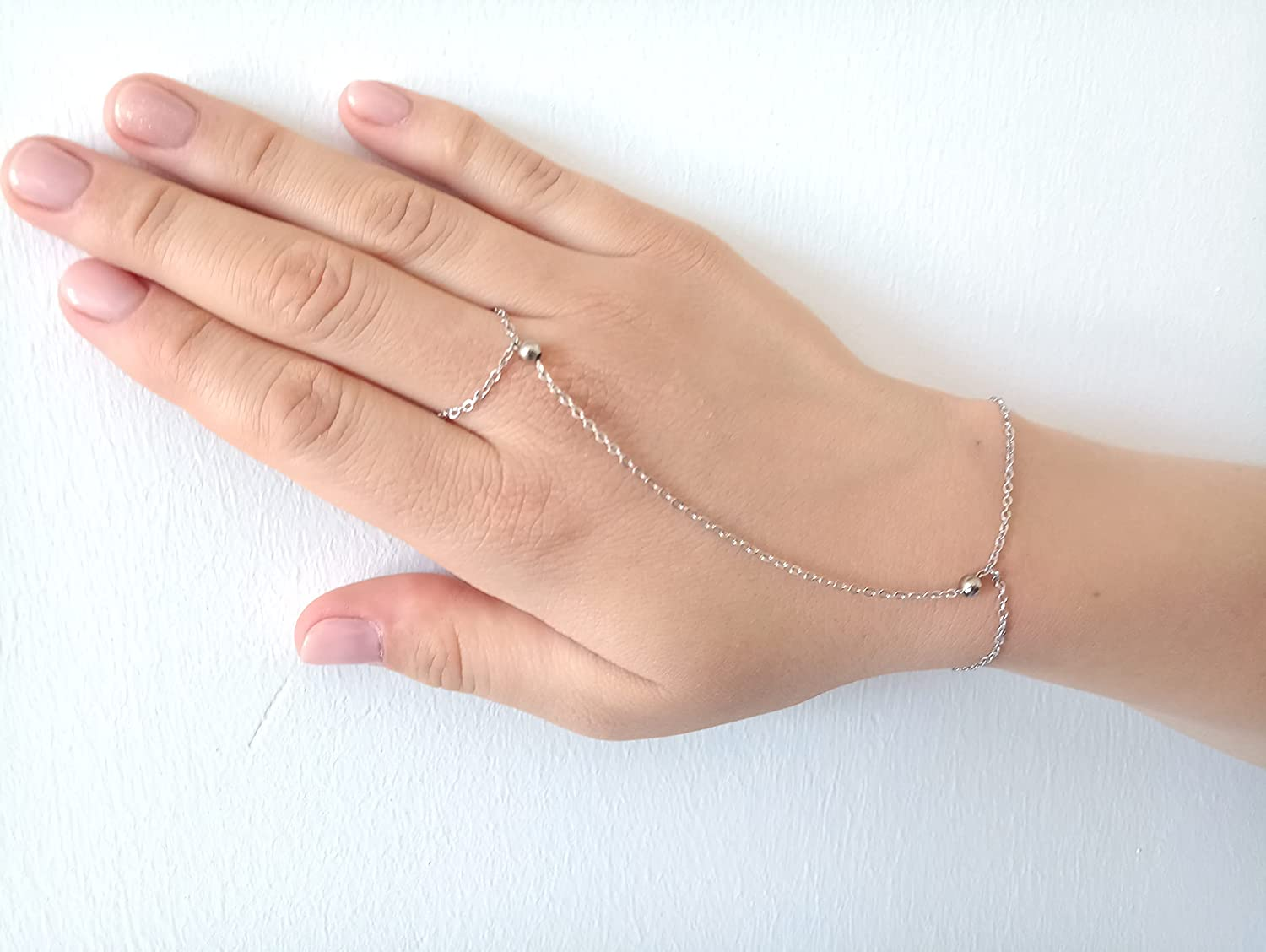 Simple Chain bracelet Minimalist Tucson Mall Safety and trust Bracelet Ring Attached