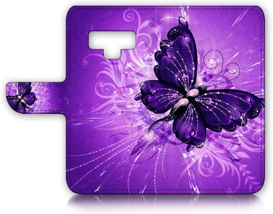 (for Samsung Note 9, Galaxy Note 9) Flip Wallet Case Cover & Screen Protector Bundle - A8184 Purple Butterfly