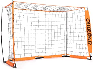 Outroad Portable 6x4 FT Soccer Goal for Backyard, Practice Small Soccer Net for Kids and Youth, Metal Bownet Post for Soccer with Carry Bag (Orange)