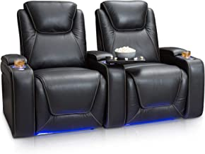 Seatcraft Equinox Home Theater Seating Power Recline Leather (Row of 2, Black)