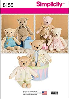 Simplicity 8155 Make Your Own Teddy Bear with Accessories and Clothes Sewing Pattern, 6 Pieces