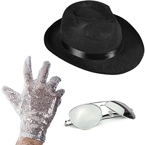 6ea20240c5ef9 Set of 3 - Fedora Hat Sequin Glove And Sunglasses by Funny Party Hats