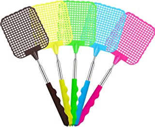 5 Pack Extendable Fly Swatter, Manual Swat Pest Control with Strong Flexible Durable Telescopic Handle, Lightweight, Assor...