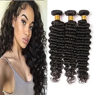 Brazilian Deep Wave Bundles 3Pcs/300G Long Curly Weave Real Human Hair Bundle Vendors Unprocessed Virgin Hair Sew In Extensions Tight Hair Bundles On Sale Clearance Dark Brown 18 20 22 Inch