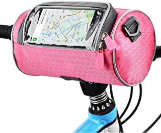 Urlite Adjustable and Removable Shoulder Strap Waterproof Bicycle Handlebar Bag with Transparent Pouch Touch Screen, Large-Capacity Front Pack for Road Bikes, Mountain Bikes and Motorcycles