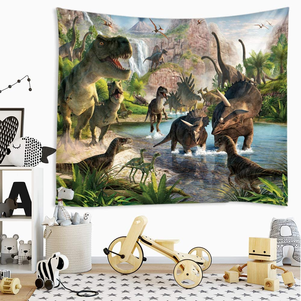 Sevendec Dinosaur Tapestry Wall Hanging Wild Anicient Animals Wall Tapestry Tropical Jurassic Nature Wall Decor for Children Bedroom Living Room Dorm W78 x L71