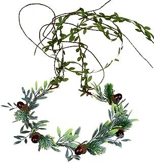 Adjustable Flower Headband Hair Wreath Floral Garland Crown Flower Halo Headpiece Boho with Ribbon Wedding Party