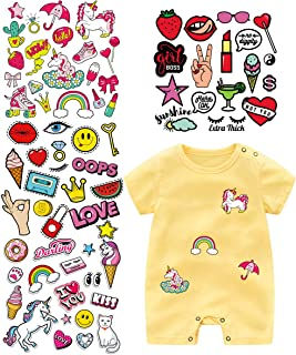 Baby Iron On Patches Heat Transfer Stickers with Colorful Pattern Appliques Design Decoration A-Level Washable for T-Shirt Jeans Bags(4 Set)