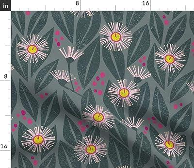 Table Runner Eucalyptus Leaves Flowers Floral Botanical Cotton Sateen