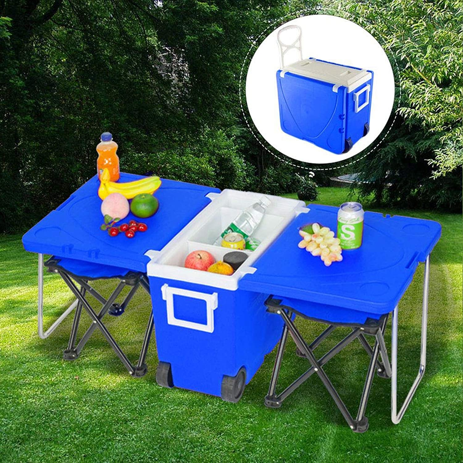 Wheeled Cooler, Rolling Cooler as Foldable Table with 2 Stools, Portable 28L Cooler with Wheels for Picnic BBQ Camping Tailgating Outdoors,blueee