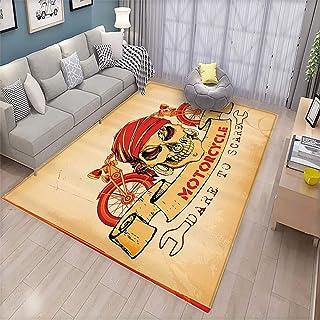 Manly Decor Kindergarten Floor mat llustration of Skull Classics Motorcycle Dare to Scare Spooky Racing Danger Theme Indoor Living Room Floor mat 6.6`x10`