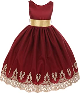 burgundy and gold flower girl dresses