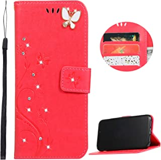 iPhone 11 Pro Wallet Case, Felico Handmade Luxury 3D Bling Rhinestone Crystal Flip Case Emboss Butterfly Flower PU Leather Magnetic Protective Kickstand Card Slots Cover 5.8 Inch Christmas Red