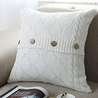 DOUH Cotton Cable Knitted Pillow Case Cushion Cover Decorative Knitting Patterns Square Warm Throw Pillow Covers(White, 18x18)