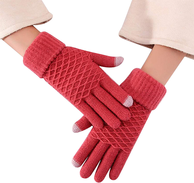 WEILYDF Women Winter Knitted Gloves Warm Cold-Proof Thickening Plus Velvet Wear Soft Mittens Outdoor Accessories,Leather Red