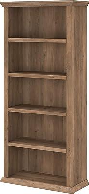 Bush Furniture Yorktown Tall 5 Shelf Bookcase, Reclaimed Pine