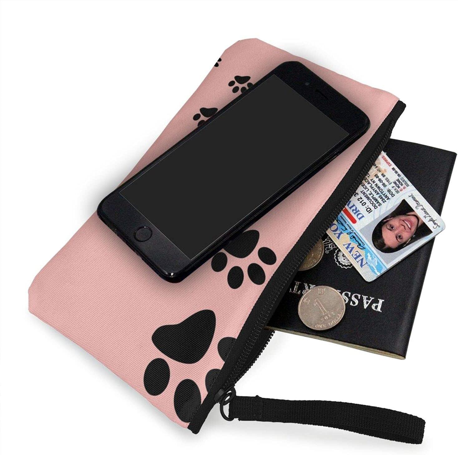 AORRUAM Animal Paw Prints Canvas Coin Purse,Canvas Zipper Pencil Cases,Canvas Change Purse Pouch Mini Wallet Coin Bag