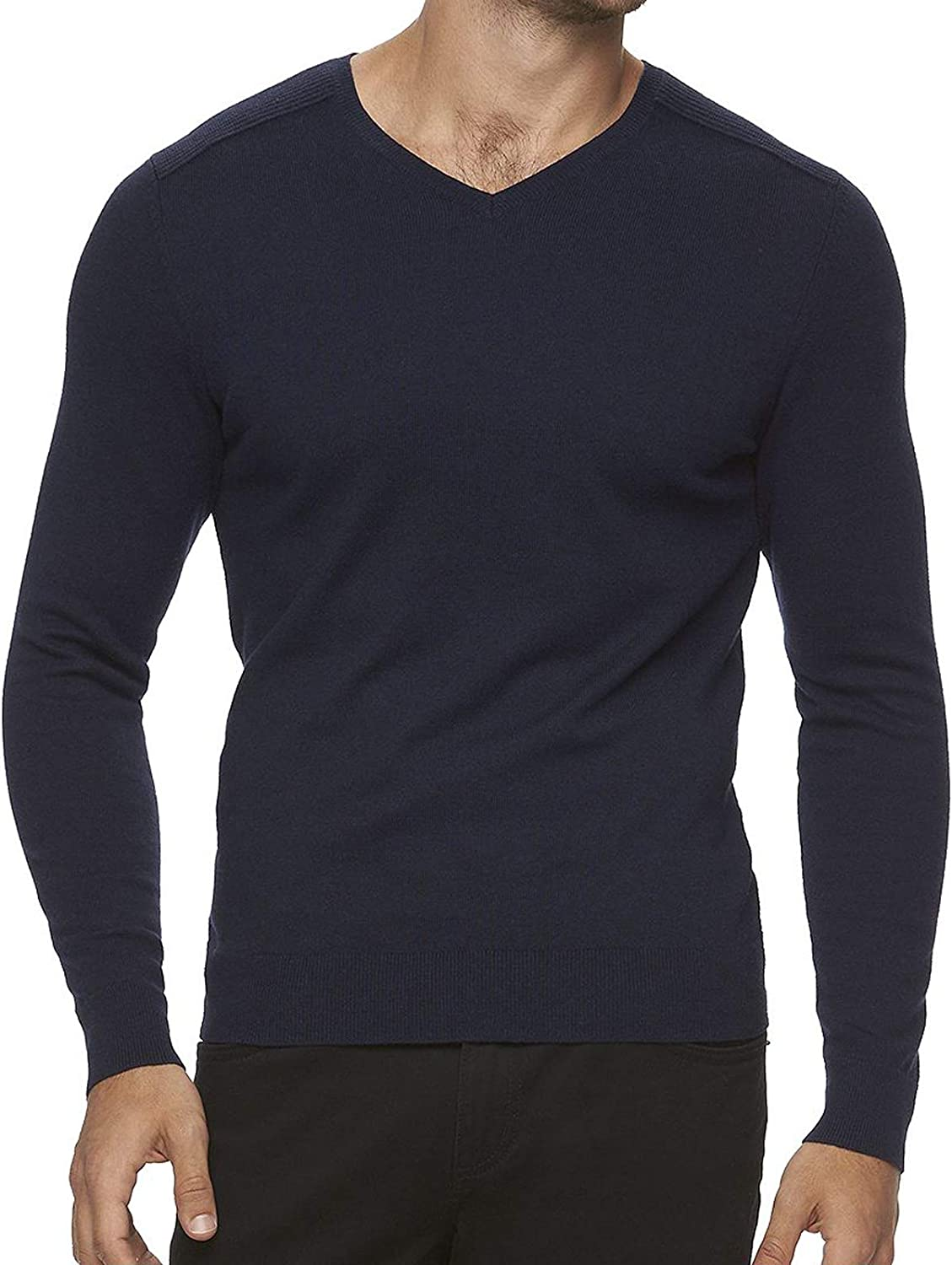 marc Anthony Men's Big and Tall Lightweight Slim-Fit Solid Cashmere-Blend V-Neck Pullover Sweater