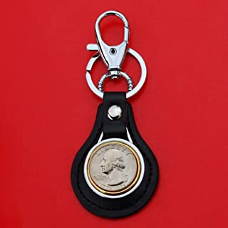 US 1776 - 1976 Bicentennial Washington Quarter BU Uncirculated Coin Gold Silver Two Tone Leather Key Chain Ring NEW
