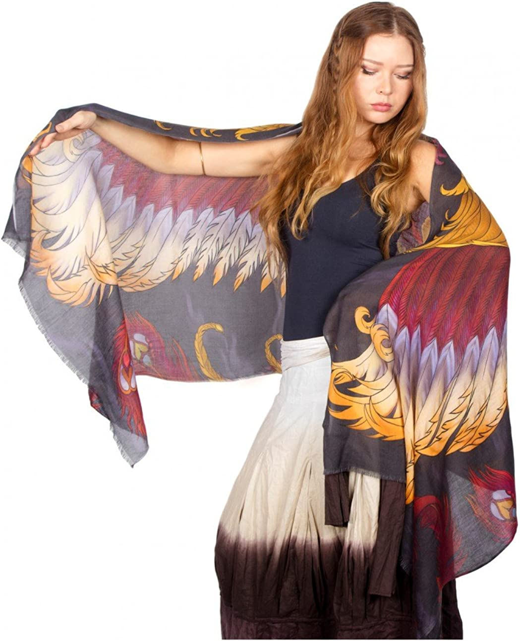 Bird feathers Hand Painted Printed Shawl Discount mail order Scarf Cotton Houston Mall Pure