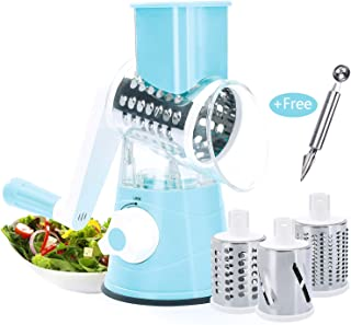 Beauty Nymph Rotary Cheese Grater Mandoline Kitchen Vegetable Shredder with 3 Interchangeable Blades for Fruit Vegetables Nuts