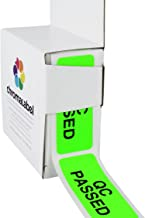 ChromaLabel 1 x 2-1/2 inch Fluorescent Quality Control Labels   200/Dispenser Box (Green   QC Passed)