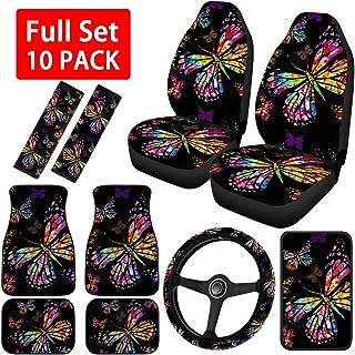 OLOEY Capas de assento de carro Butterfly para mulheres, inclui conjunto completo de tapetes de carro, capa de volante uni...