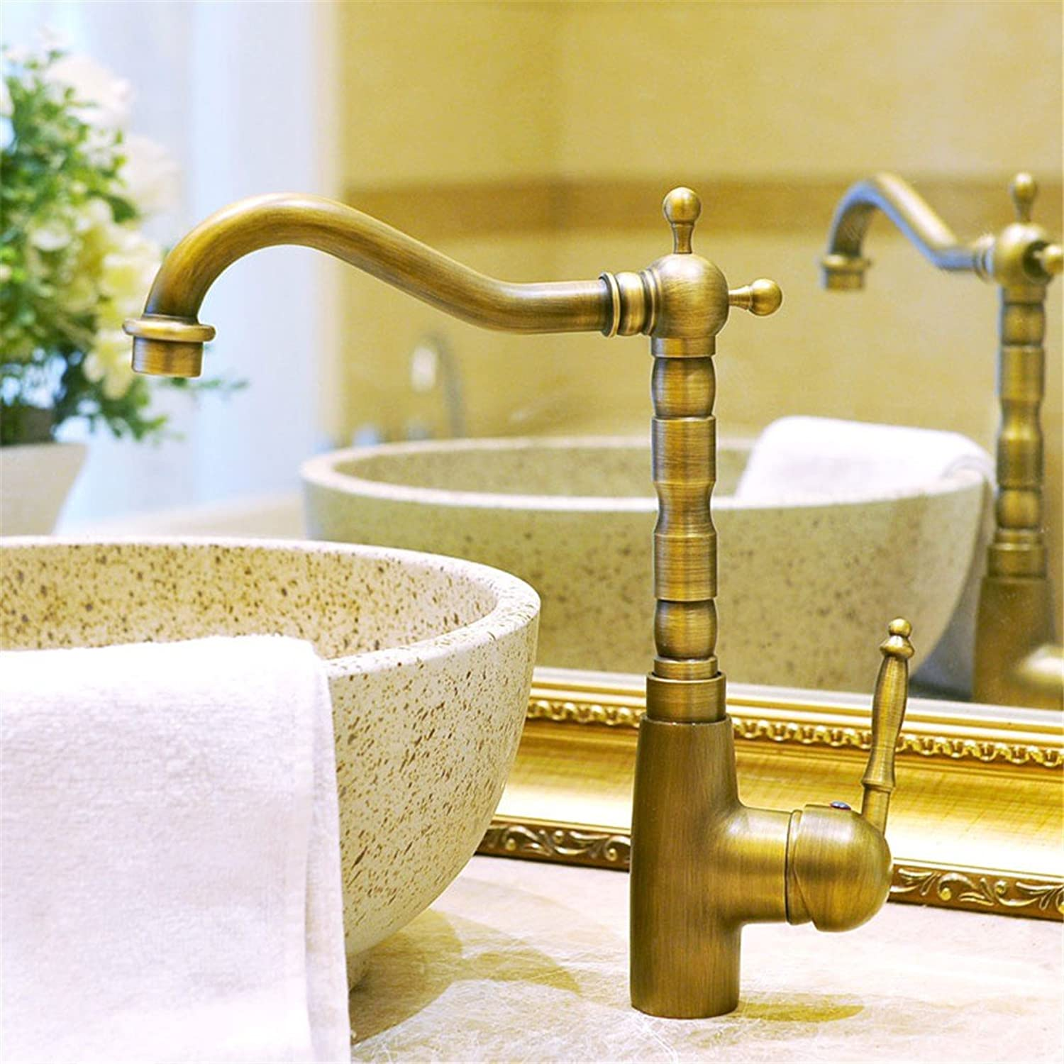 Commercial Single Lever Pull Down Kitchen Sink Faucet Brass Constructed Polished European Pastoral Antique Faucet Antique Faucet Kitchen Faucet 6035