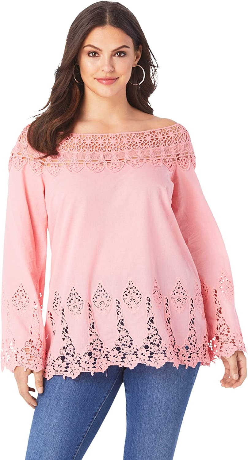 Roaman's Women's Plus Size Bell-Sleeve Embroidered Lace Tunic Long Shirt Blouse