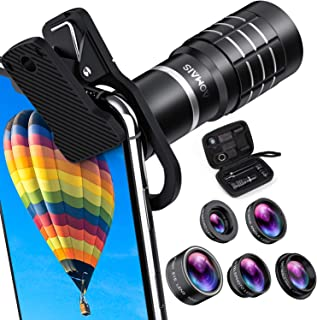 HD Cell Phone Camera Lens Kit 9 in 1, 18X Telephoto Lens, Wide Angle Lens, Macro Lens, Fisheye Lens, 2X Telephoto Lens, CPL in Travel Case, Compatible with iPhone Max X XS 8 7 6 Plus, Samsung & More