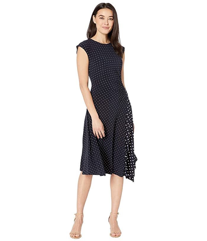 LAUREN Ralph Lauren  Petite Polka Dot Stretch Jersey Dress (Lauren Navy/Pale Cream) Womens Clothing