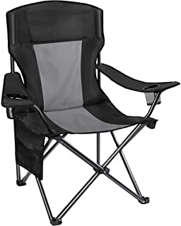 AsterOutdoor Camping Folding Chair Padded Quad Arm Chair with Large Cup Holders, Side Organizer & Back Pocket for Outdoor,...