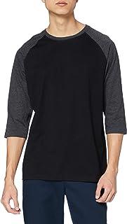 Urban Classics Men's Baseball T-Shirt, Contrast 3/4 Raglan Sleeve Shirt, Sports Shirt, Crew Neck, 100% Jersey Cotton, Diff...