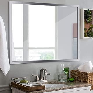 Tangkula Wall Mirror Rectangular, Bathroom Simple Modern Stainless Steel Frame Mirror, Aluminum Backed Floating Glass Vanity Bedroom Hangs Horizontal & Vertical Mirror(24''x32'')