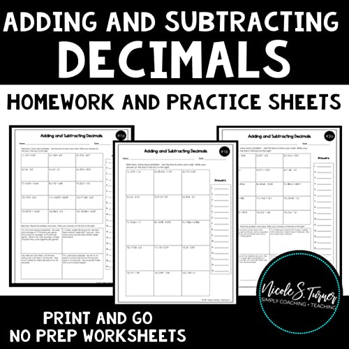 Adding and subtracting decimals worksheets