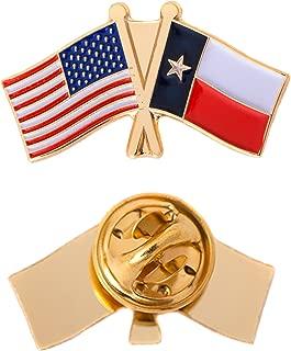Texas TX State Double Flag Lapel Pin Enamel with United States USA US Souvenir Hat Men Women Patriotic Texan (Double Flag Pin)