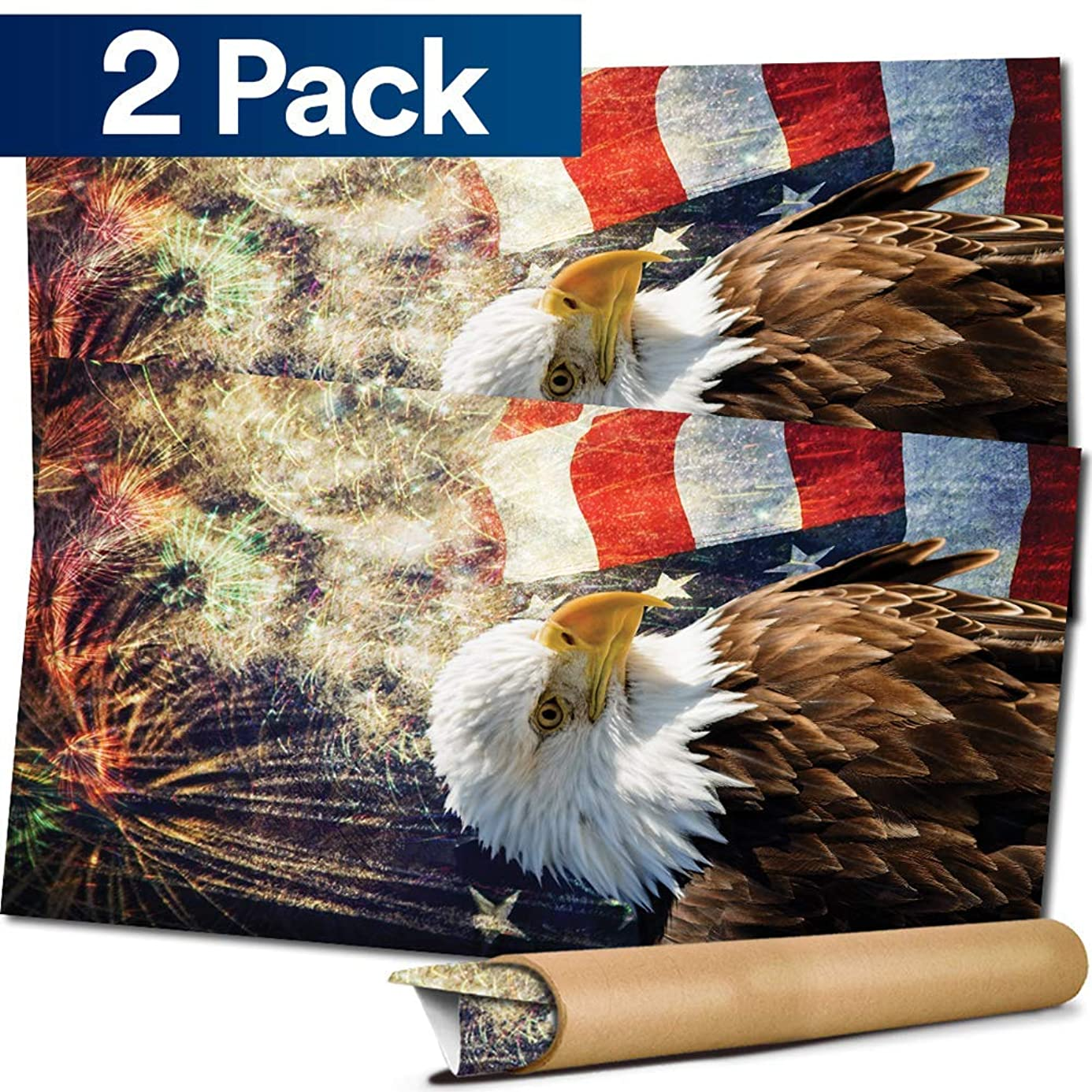 Cornhole Board Skin Wrap Decal - Vinyl Tournament Corn Hole Bean Bag Toss Sticker - Weather Resistant USA Flag Board Game - For Children Adults Colleges Festivals & Bars - 48.5x24.5 inches