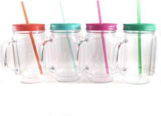 Innovation Creations Plastic Mason Jars With Handles, Lids and Straws- 20 oz Double Insulated Tumbler Mugs with Straw- Wide Mouth Cups Set of 4 - For Kids and Adults
