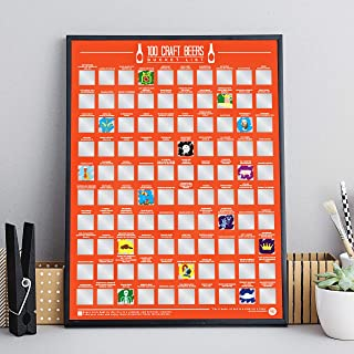 100 Craft Beer Bucket List Scratch Poster