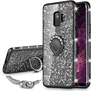 VEGO Galaxy S9 Case Glitter Bling Diamond Case with Kickstand Rhinestone Bumper for Girls Women Sparkly Luxury Slim Soft Protective Case with Ring Stand for Samsung Galaxy S9 (Black)