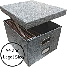 Linen File Storage Box Includes 10 A4 Legal Hanging Files - Collapsible Easy Filing Organizer with Lid - Steel Glides Fit Perfectly (Legal Size)