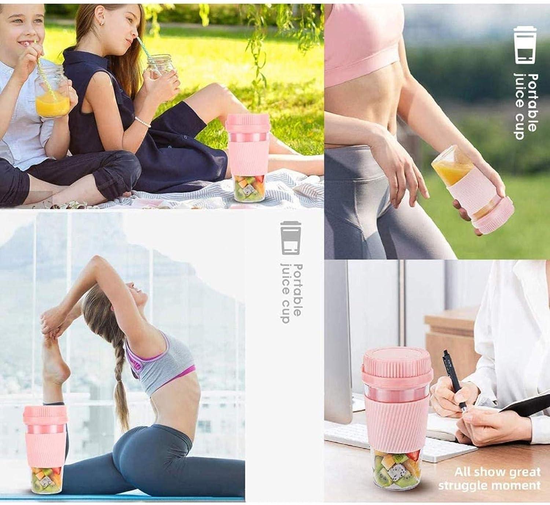 WNN-URG Blender Portable, Shakes et smoothies Mini Jucier Cup rechargeable USB, 300ml Capacité processeur for l'alimentation Sport, Voyage, Gym WNN-URG (Color : Blue) Pink