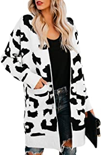 Dellytop Womens Plus Size Cardigans Leopard Open Front Knit Kimono Sweaters with Pockets