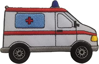 Ambulance Car Rescue EMT Paramedic Iron on Patches Embroidered White
